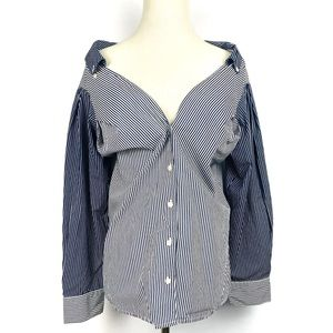 H&M Blue Striped Wide Neck Button Up Poplin Shirt